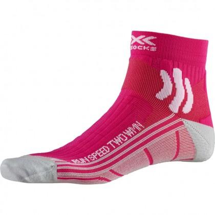 X-Socks Run Speed Two Running Socks - Flamingo Pink / Pearl Grey