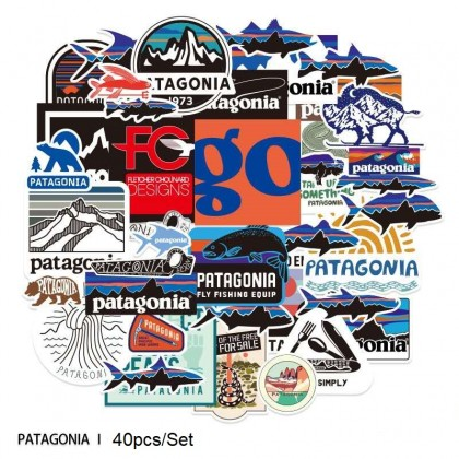 40pcs/pack Patagonia Waterproof PVC Stickers Skateboard Suitcase Snowboard Phone Laptop Sticker