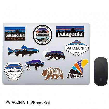 26pcs/pack Patagonia Waterproof PVC Stickers Skateboard Suitcase Snowboard Phone Laptop Sticker