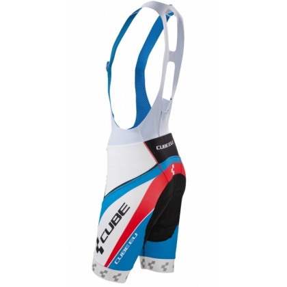 Authentic Cube Teamline Cycling Bib Shorts White/Blue/Red, Size M Only