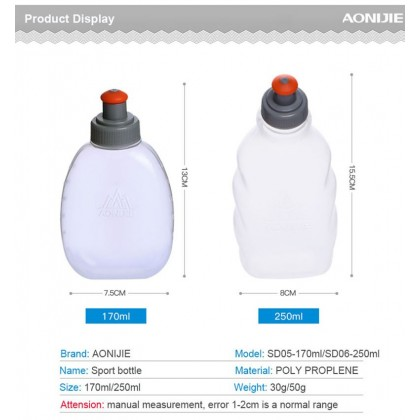 AONIJIE Extrudability Portable Soft Water Bottle for Running Hiking Cycling Cycling Fitness Sports 250ml