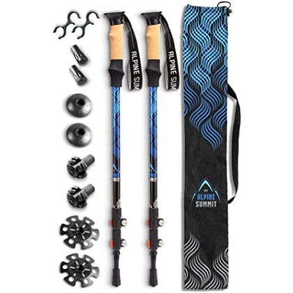 Alpine Summit Hiking/Trekking Poles Explorer [Pair] with Quick Locks, Walking Sticks with Strong and Lightweight 7075 Aluminum and Cork Grips - Enjoy The Great Outdoors