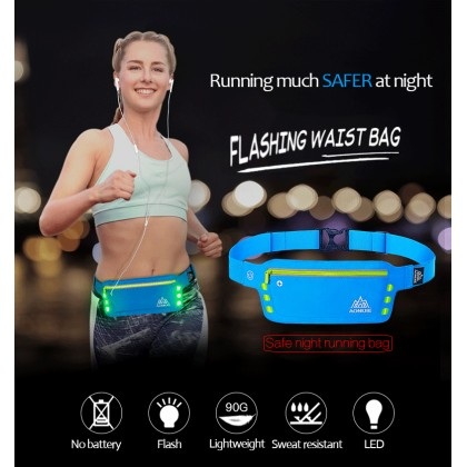 AONIJIE Flashing LED Lights Sport Running Pouch Waist Bag