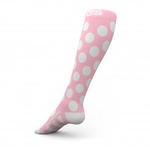GO2 Pink with White Polka Dots Compression Socks Unisex-S