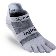 Injinji Run 2.0 Lightweight No-Show Toe Socks-White Gray