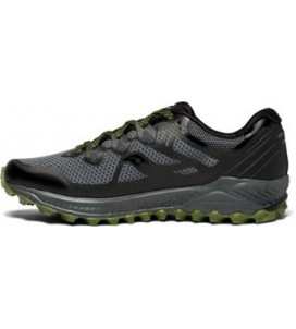 Saucony Peregrine 8 Mens Trail Running Shoes - Grey/Black/Green