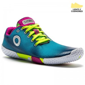 SKORA Womens Fit Shoes (Cyan/Fluorescent Yellow/White)