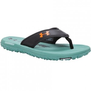 Under Armour Fat Tire Flip Flops- Black/White/Blaze-Orange