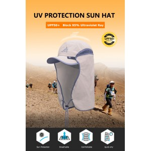 AONIJIE E4089 Unisex Hat Sun Visor Cap Hat Outdoor UPF 50 Sun Protection with Removable Flap Cover