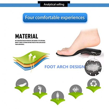 Plantar Fasciitis Insoles, Orthotic Shoes Insoles for Men & Women, Full Length Orthopedic Inserts with Arch Support for Supination, Flat Feet, Heel & Foot Pain Gel Insoles