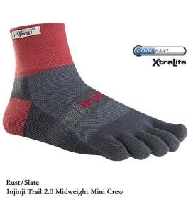 injinji Trail Midweight Mini-Crew - Rust/Slate