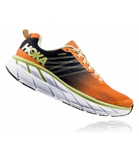 Hoka One One Clifton 6 Men's Road-Running Shoes - BIRDS OF PARADISE / BLACK