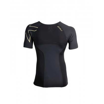 2XU Men's Elite Compression Short Sleeve Top : Black/Gold MA3013A
